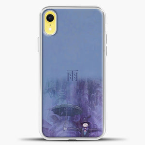 Studio Ghibli Rain Purple Background iPhone XR Case, White Plastic Case | casedilegna.com