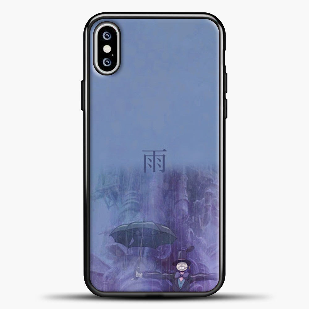 Studio Ghibli Rain Purple Background iPhone XS Max Case, Black Plastic Case | casedilegna.com
