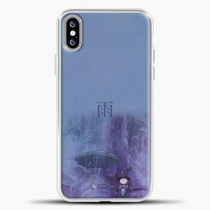 Studio Ghibli Rain Purple Background iPhone XS Max Case, White Plastic Case | casedilegna.com