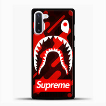 Load image into Gallery viewer, Supreme Bape Red Samsung Galaxy Note 10 Case, Black Plastic Case | casedilegna.com