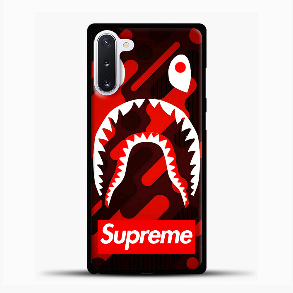Supreme Bape Red Samsung Galaxy Note 10 Case, Black Plastic Case | casedilegna.com