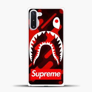Supreme Bape Red Samsung Galaxy Note 10 Case, White Plastic Case | casedilegna.com