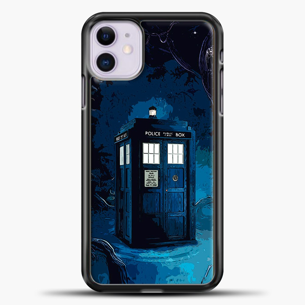Tardis In Wonderland iPhone 11 Case, Black Plastic Case | casedilegna.com