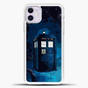 Tardis In Wonderland iPhone 11 Case, White Plastic Case | casedilegna.com