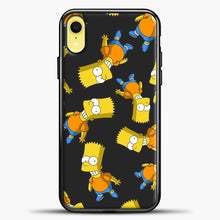 Load image into Gallery viewer, The Simpsons Bart Pattern iPhone XR Case, Black Plastic Case | casedilegna.com