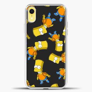 The Simpsons Bart Pattern iPhone XR Case, White Plastic Case | casedilegna.com