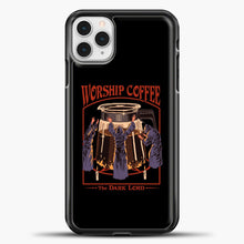 Load image into Gallery viewer, Worship Coffee iPhone 11 Pro Case, Black Plastic Case | casedilegna.com