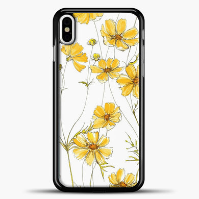 Yellow Cosmos Flowers iPhone Case, Black Plastic Case | casedilegna.com