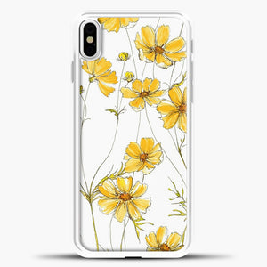 Yellow Cosmos Flowers iPhone Case, White Plastic Case | casedilegna.com