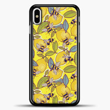 Load image into Gallery viewer, Yellow Lemon And Bee Garden iPhone Case, Black Plastic Case | casedilegna.com