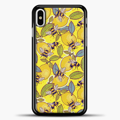Yellow Lemon And Bee Garden iPhone Case, Black Plastic Case | casedilegna.com