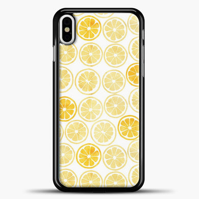 Yellow Watercolor Lemon Slices Pattern iPhone Case, Black Plastic Case | casedilegna.com