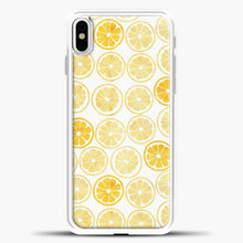 Load image into Gallery viewer, Yellow Watercolor Lemon Slices Pattern iPhone Case, White Plastic Case | casedilegna.com