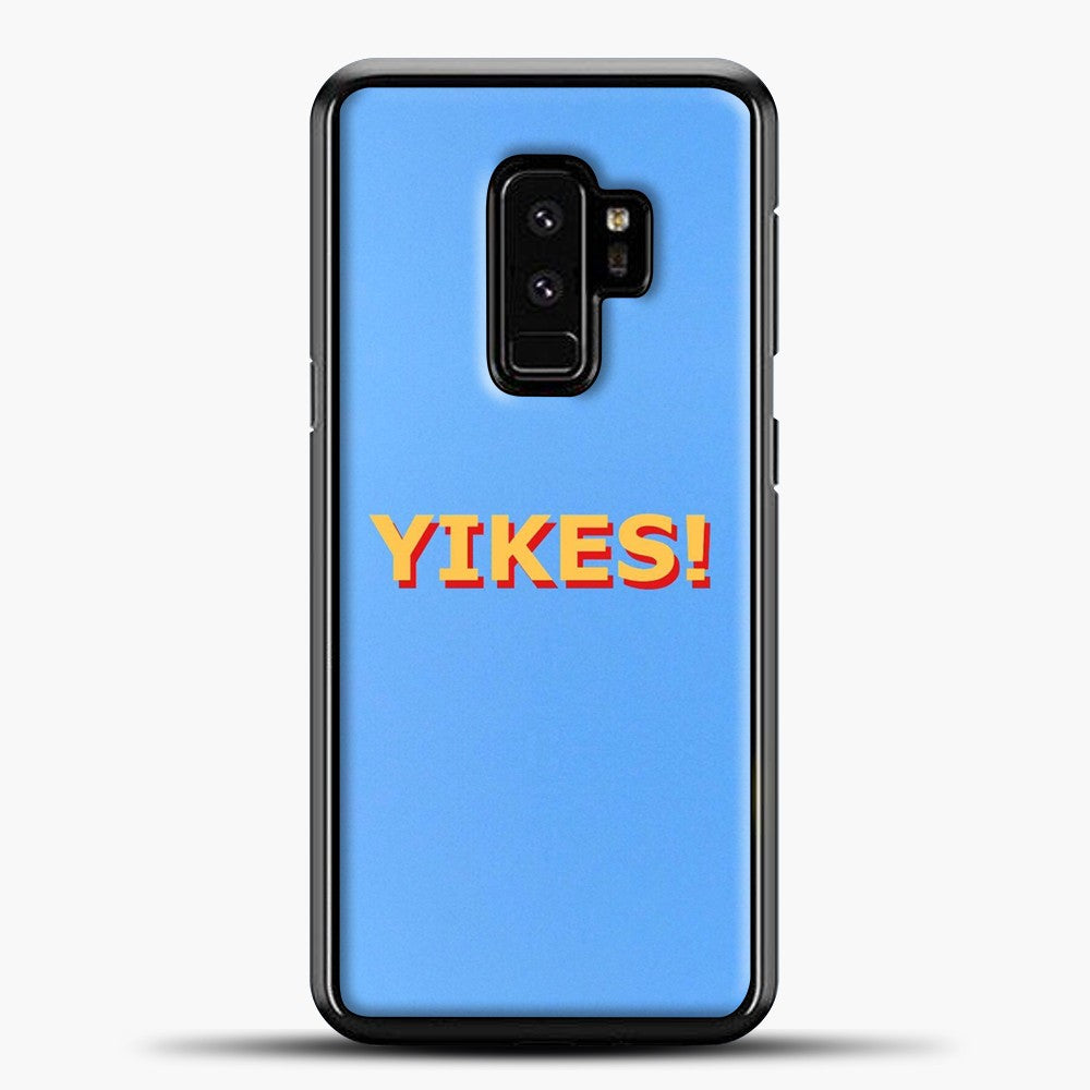 Yikes Blue Background Samsung Galaxy S9 Plus Case, Black Plastic Case | casedilegna.com