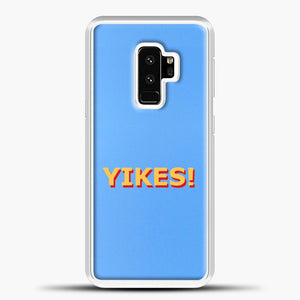 Yikes Blue Background Samsung Galaxy S9 Plus Case, White Plastic Case | casedilegna.com