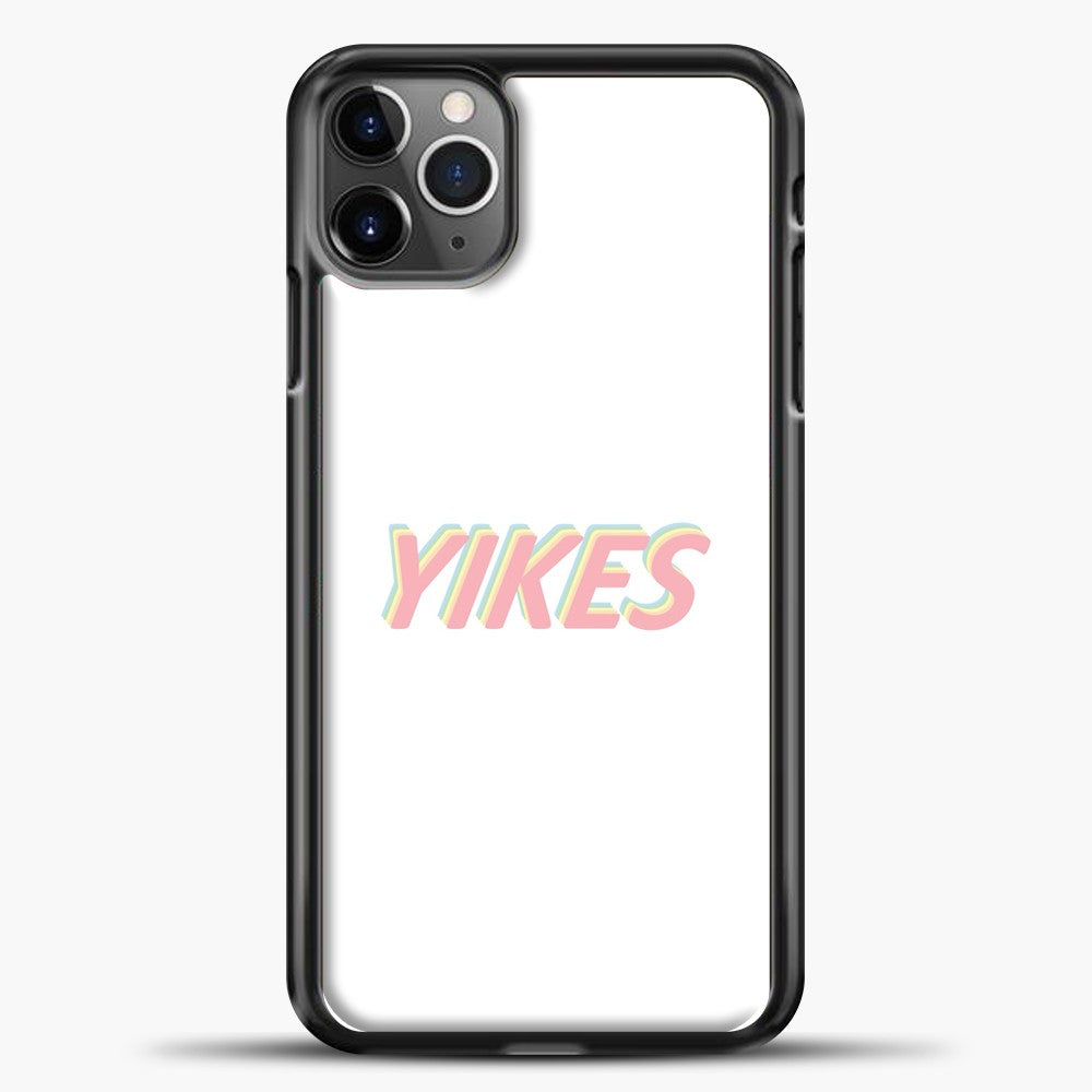 Yikes Colorful White Background iPhone 11 Pro Max Case, Black Plastic Case | casedilegna.com