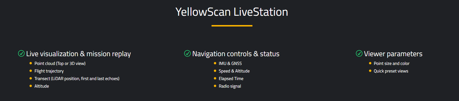 YellowScan LiveStation Features