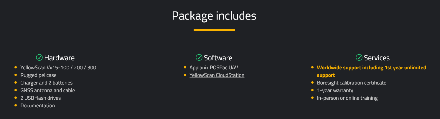 YellowScan Vx15 Whats Included
