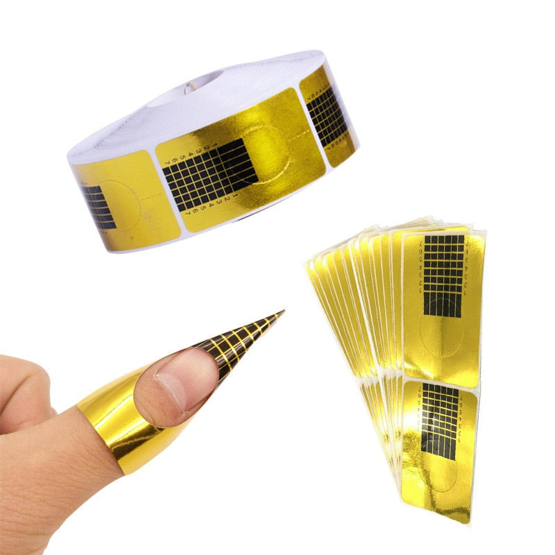 20/50/100 Pcs French Nail Form Tips Acrylic UV Gel Extension Curl Form Builder Gel Sticker Art Guide Mold Manicure Stencil