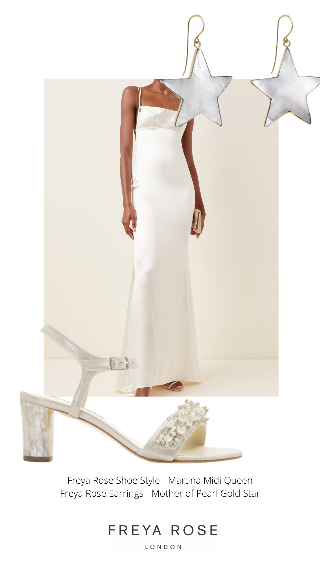 martina midi queen pearl champagne coloured low block heel bridal shoe styling
