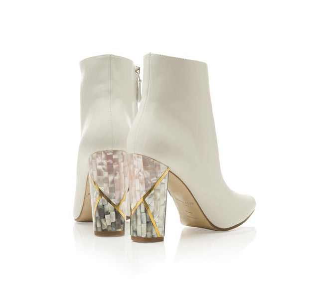 white wedding ankle boots