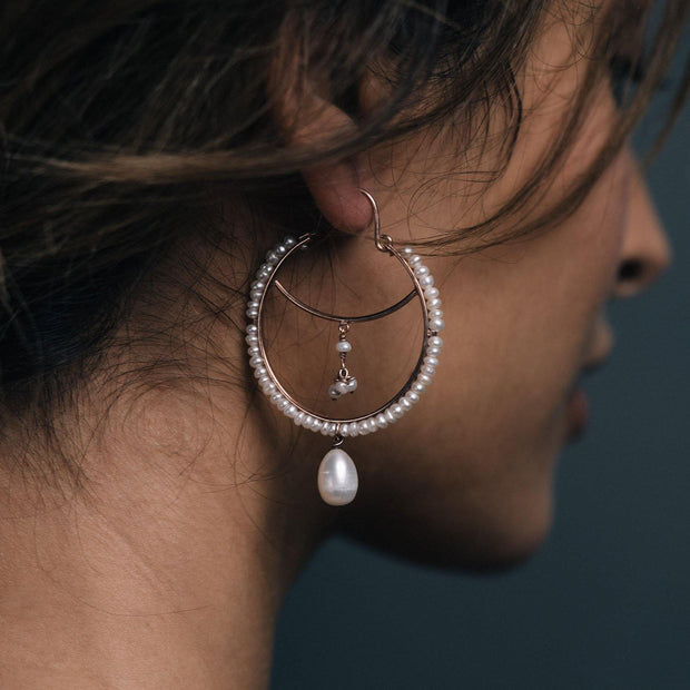 Pearly Drop Hoops