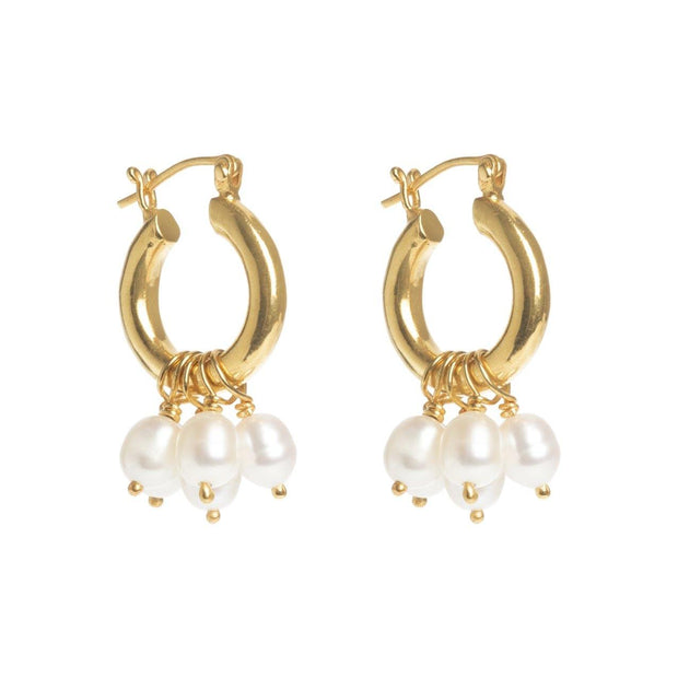 Baroque Mini Hoops with Pearl Drops