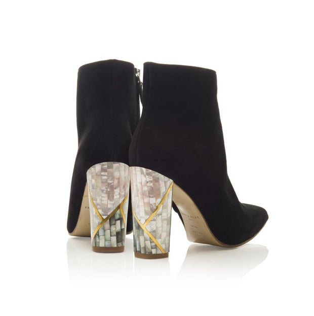 black suede ankle boot with mother of pearl heel