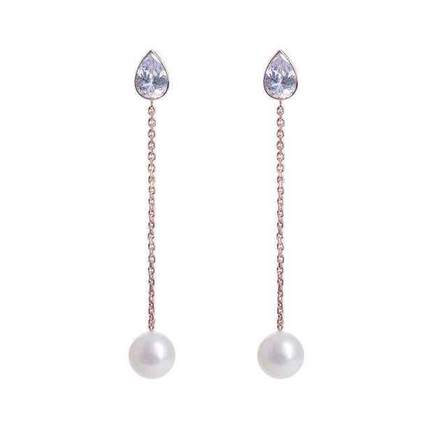 silver pearl rose gold drop