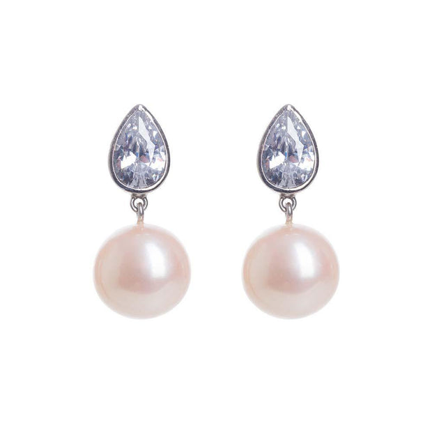 silver pink pearl drop