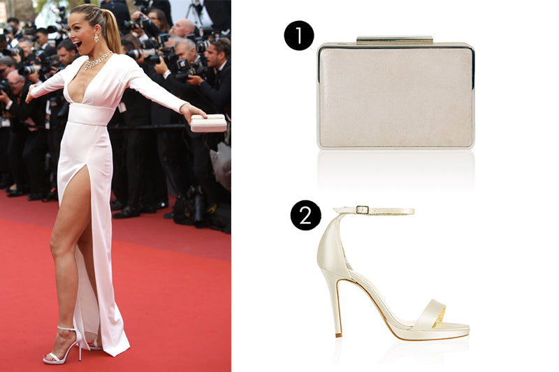 Freya Rose Strapy Ivory Sandals and matching clutch bag