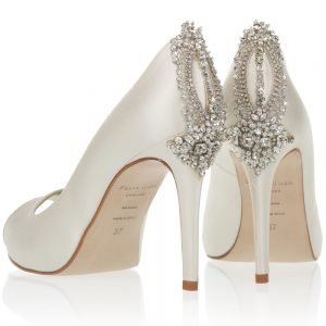 Image of Freya Rose shoes style Astoria, back shot to show swarovski crystal detail for wedding shoes