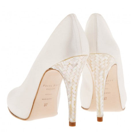 Image of Freya Rose style Caira with mother of pearl heel, ivory wedding shoes