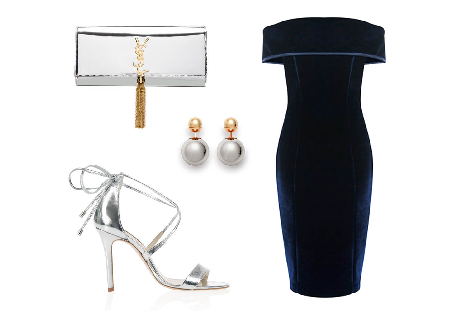 Coast cavalleri bardot velvet dress with freya rose Helena silver opulent shoes with YSL clutch and pear earrings