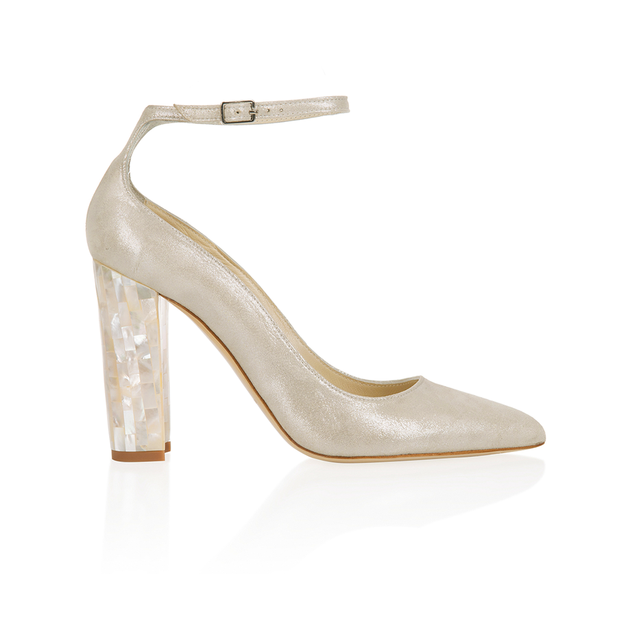 Micola Champagne Mother of Pearl Block Heel
