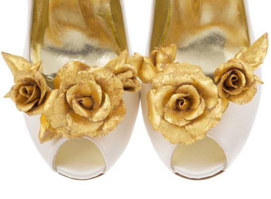 shoe clips, hand crafted design, bespoke accessory, detachable shoe clip, Freya Rose, Aurora shoe clip, gold leaf, opulent rose design, limited edition