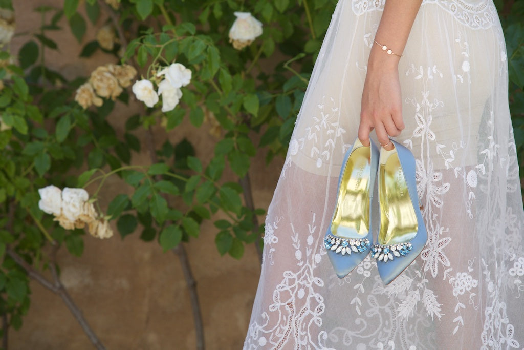 Image of Freya Rose style chandelier blue, blue wedding shoes with opals and swarovski trim