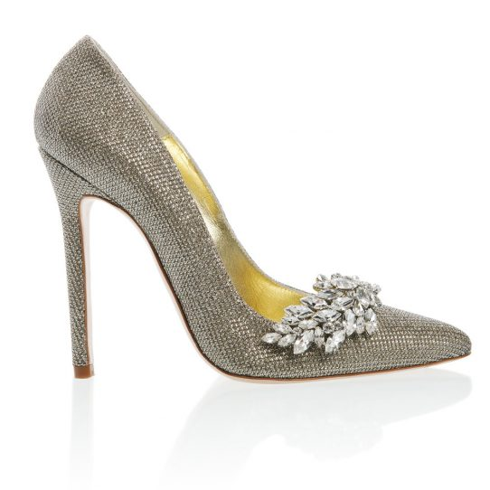 Chrysler, Freya Rose, silver gold weave upper, stiletto, shoe clips, detachable shoe clip, swarovski shoe clip, gold kid leather lining, memory foam insole