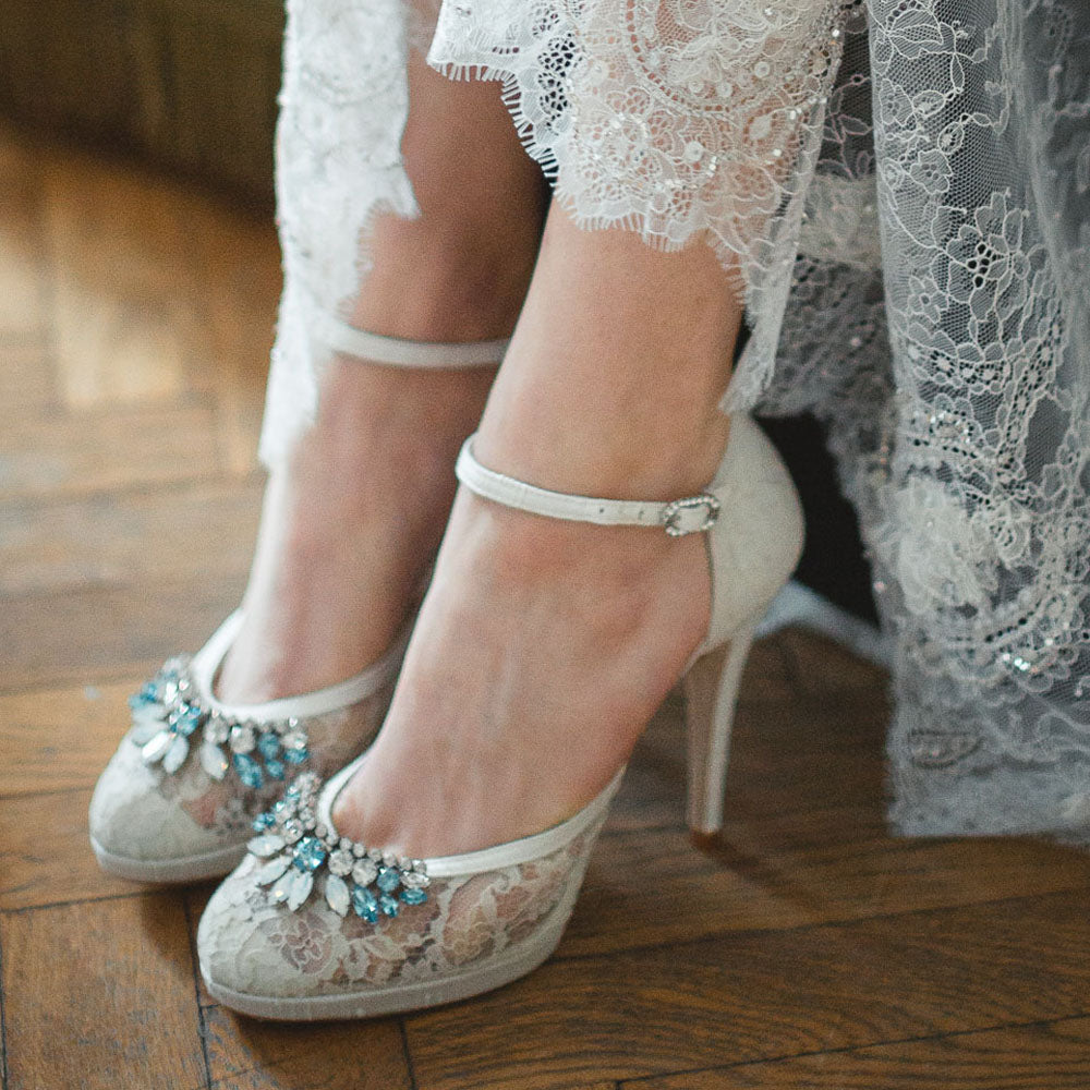 Image of Freya Rose style Violet with french caudry lace, platform and blue opals for something blue wedding ideas