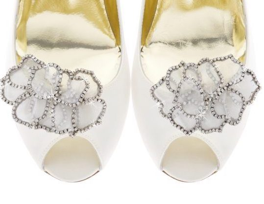 Rossina Medium, Freya Rose, shoe clips, bespoke shoe clip, organza flower, flower shoe clip, Swarovski embellishment, shoe accessories