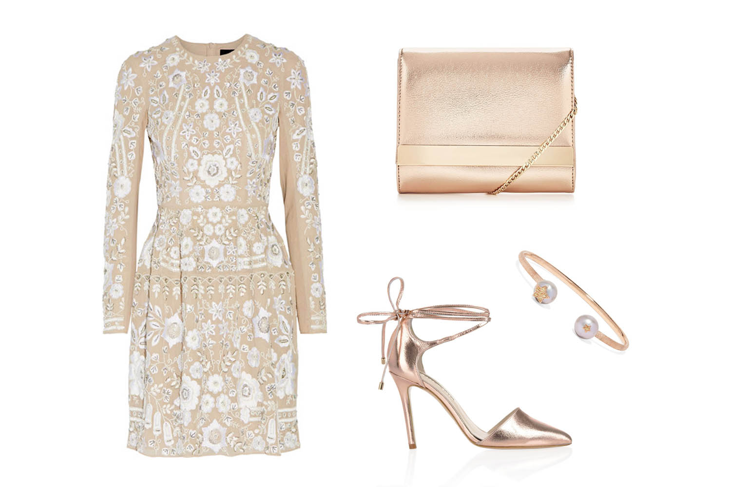 Needle and Thread snowdrop embellished embroidered Georgette mini dress, with Pecina Rose Gold Freya Rose shoes, mini shoulder chain metallic clutch bag and super stella cuff