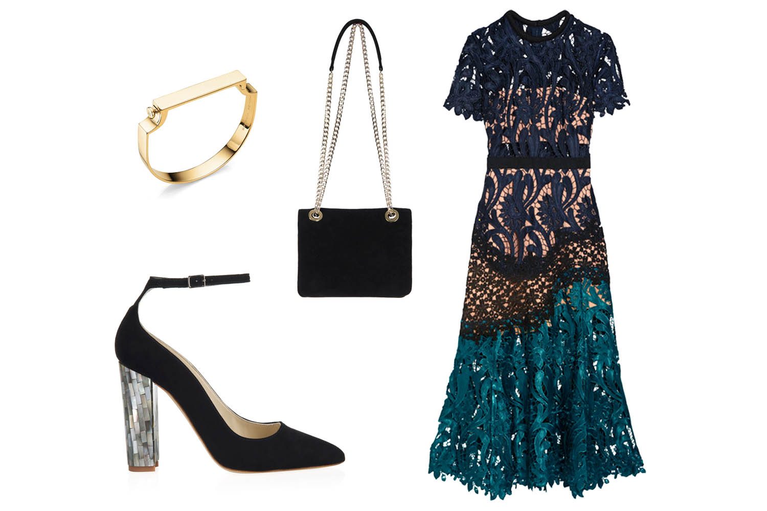 Self Portrait lace midi dress with Micola Noir black shoes and Kate Petite bag paired with a Monika Vinadr Gold Bangle