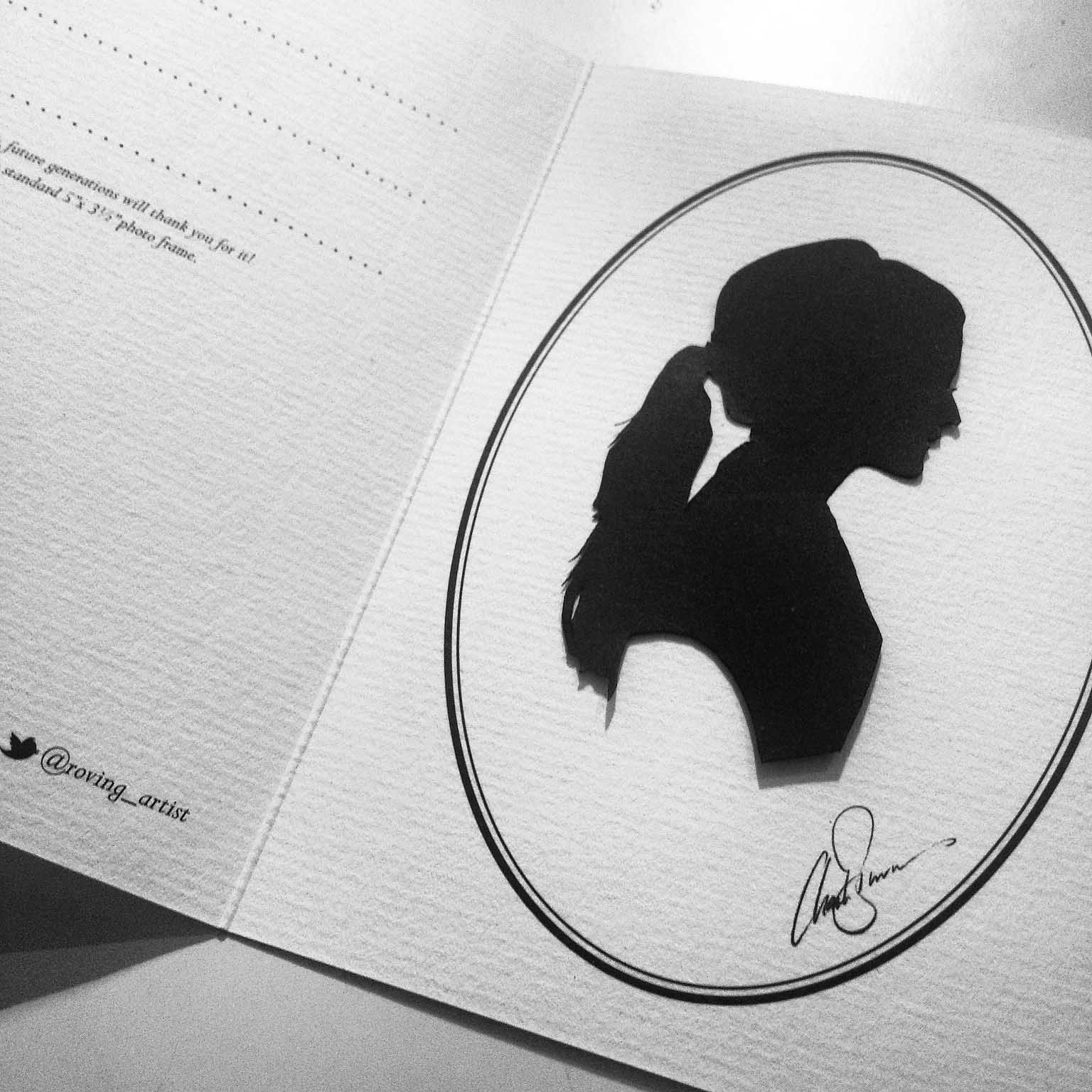 Image of Freya Rose silhouette as created by the Roving artist at a Suzanne Neville bridal event in London