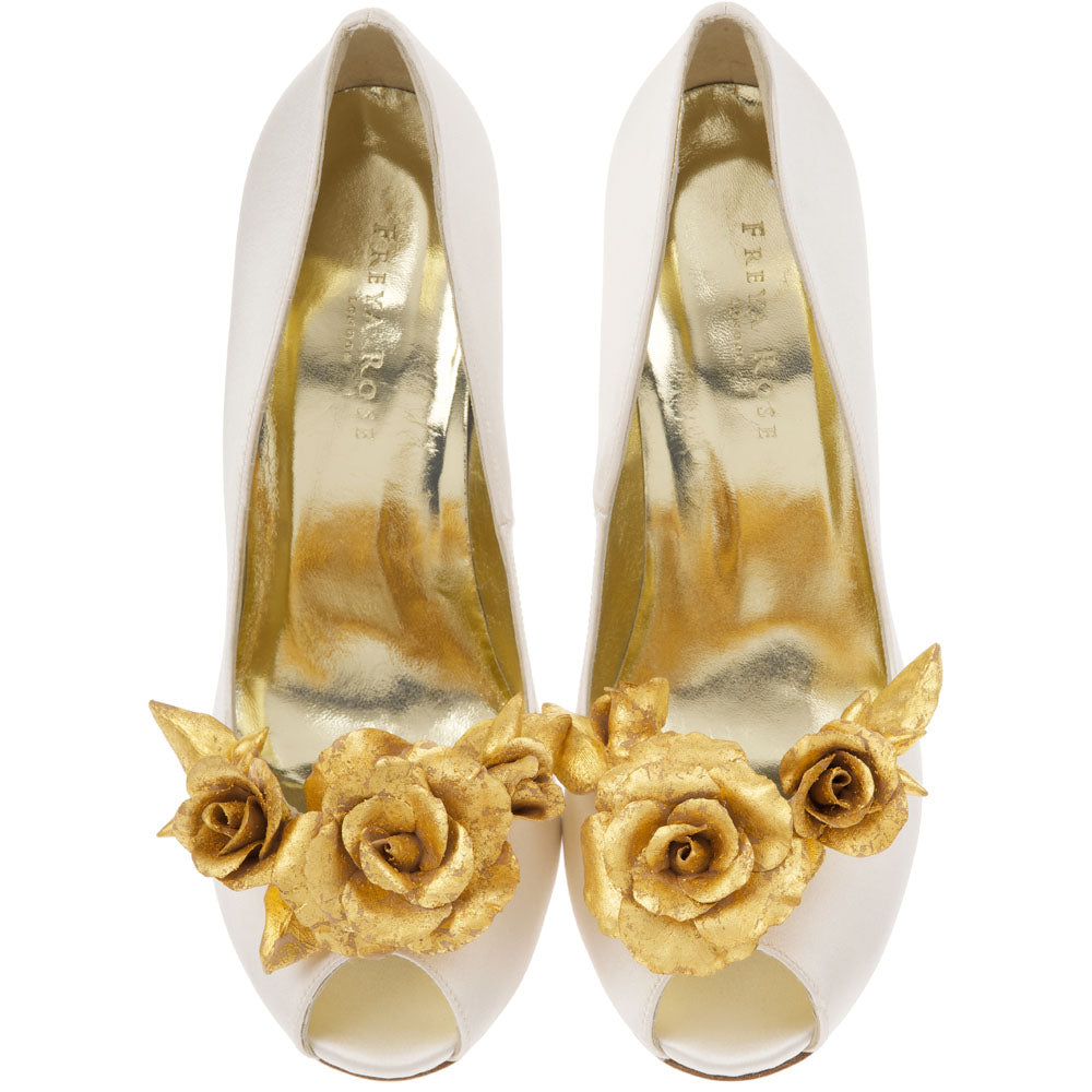 Image of Freya Rose shoe clips style Aurora with gold flower rose for bridal shoes