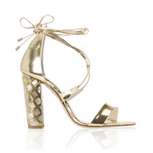 freya rose courtney, mother of pearl, tieup heels, designer heels, gold heels, open toe heels
