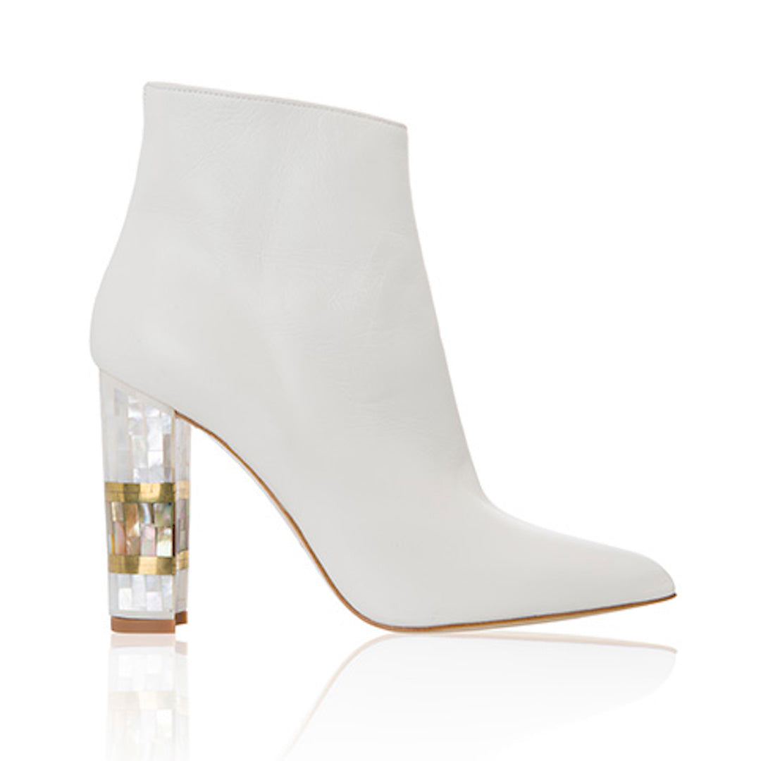 "Freya Rose, Designer Shoe, White, Heeled Boot,10cm heel, 4"" heel, block heel, pointed toe boot, white leather upper, mother of pearl heel, hand finished, intricate design, British couture"
