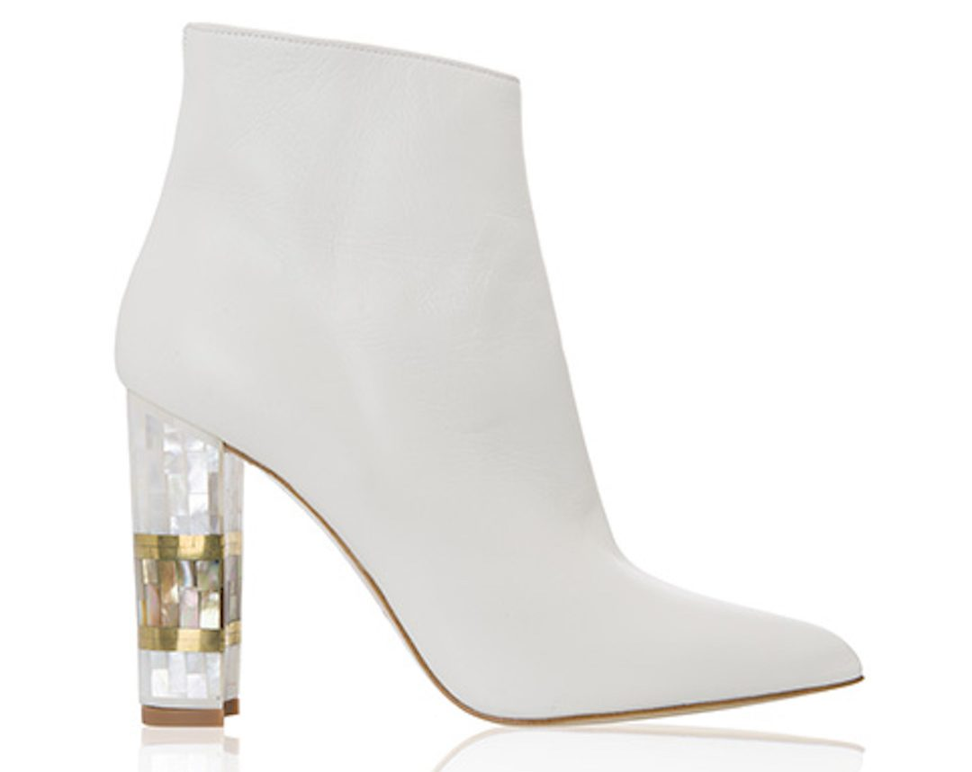 """Freya Rose, Designer Shoe, White, Heeled Boot,10cm heel, 4"""" heel, block heel, pointed toe boot, white leather upper, mother of pearl heel, hand finished, intricate design, British couture"""