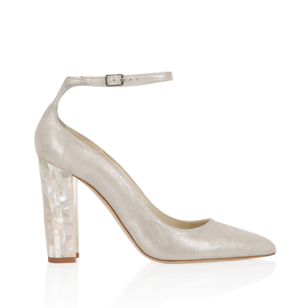 "Freya Rose, Micola Champagne, designer shoes, occasion heels, champagne, block heel, 10cm heel, 4"" heel, pointed toe with ankle strap, suede upper, memory foam lining, mother of pearl heel, hand finished, intricate design, British couture,"