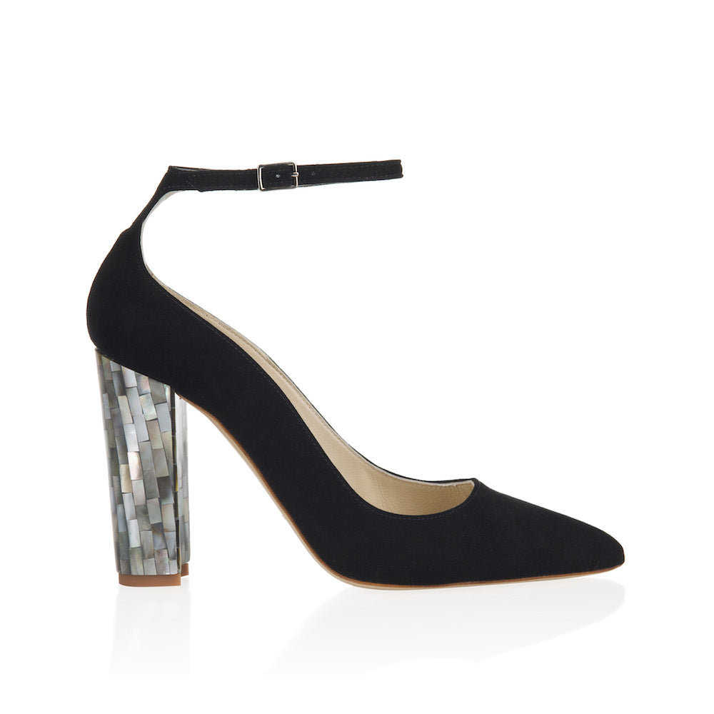 "Freya Rose, designer shoes, black suede upper, pointed toe, court shoe with ankle strap, 10cm heel, 4"" heel, grey mother of pearl heel, intricate design, handcrafted, British couture, designer heels,"