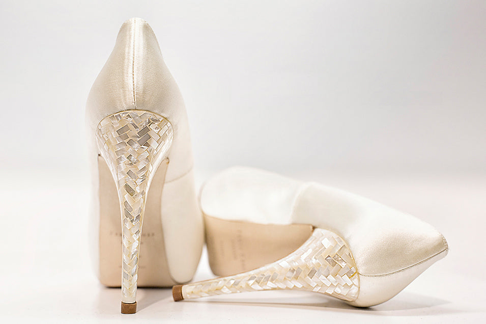 Image of Freya Rose Mother of Pearl heel for Craftsmanship page